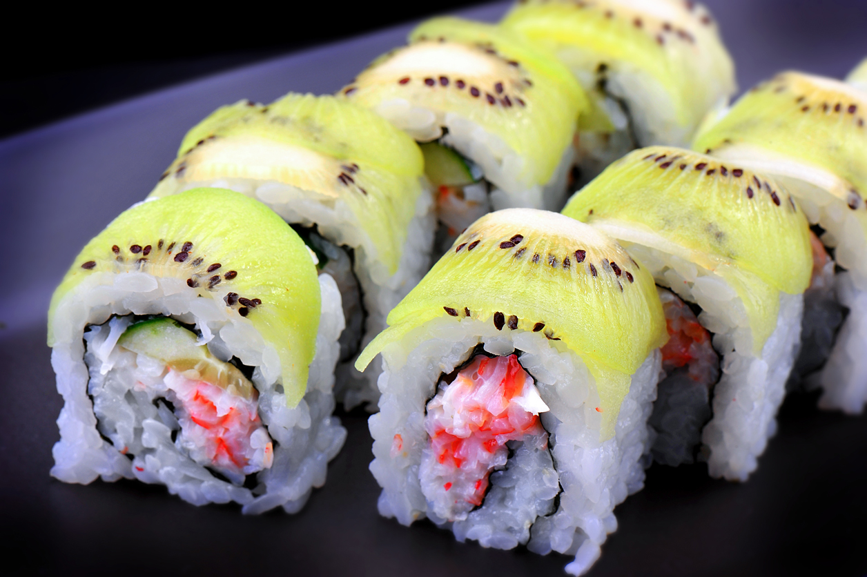 Maki Sushi Roll With Kiwi Fruit.