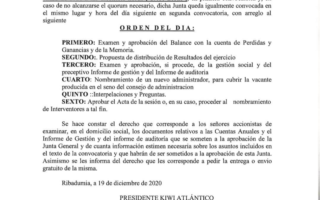 Convocatoria de la Junta General Ordinaria 28/01/2021